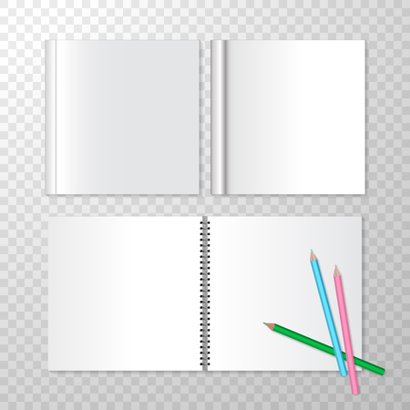 Top View Opened Notebooks on Spiral Bound and Square Closed Book with Empty White Pages. Vector Set for Advertising Design. Templates for Mock Up on Transparent Background for Book Shop Store. Clean Pages, Colorful Pencils Stock Illustratie
