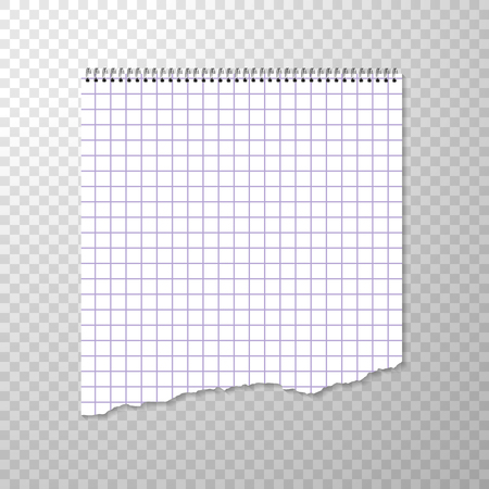 Torn Piece of Squared Paper from Spiral Bound Notebook. Clean or Blank Page Isolated on Transparent Background. Torn off Piece White Paper. Squared Album Page for Drawing or Artistic Sketches. Vector Illustration with Empty Binder Paper