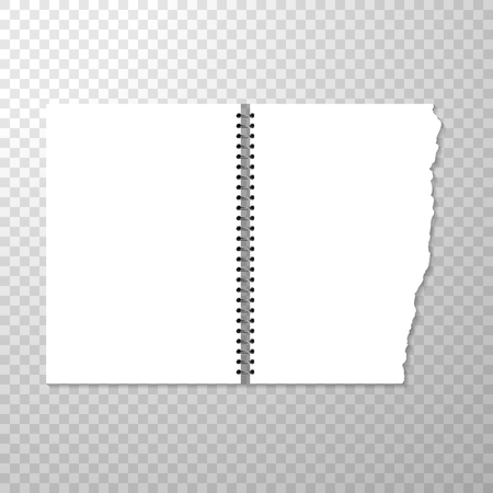Opened Notebook Template with Blank Page. Torn Piece of Paper from Spiral Bound Notebook. Clean or Blank Pages Isolated on Transparent Background. Vector Illustration with Empty Binder White Paper Mockup
