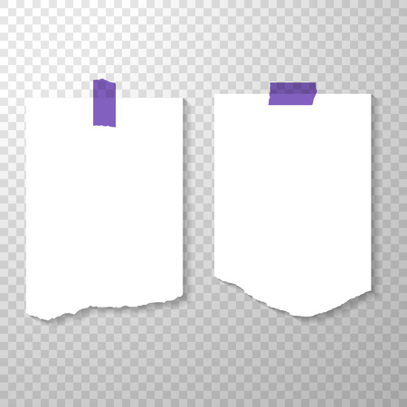 Blank Torned Off Pages with Purple Stickers. Torn Pieces of Paper. Clean or Blank Pages Isolated on Transparent Background. Vector Illustration with Empty Binder White Paper Mockup
