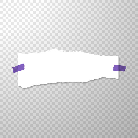 Torned Off Piece of Paper with Purple Stickers. Empty Page Isolated on Transparent Background. Torned Vector Edge of White Horizontal Paper Banner. Template for Advertising. Vector Illustration with Empty Torn Paper Illustration