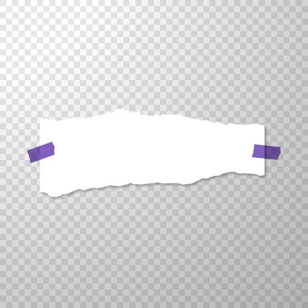 Morceau de papier déchiré avec des autocollants violets. Page vide isolée sur fond transparent. Vecteur déchiré bord de bannière horizontale en papier blanc. Modèle pour la publicité. Illustration vectorielle avec papier déchiré vide Banque d'images - 93308521