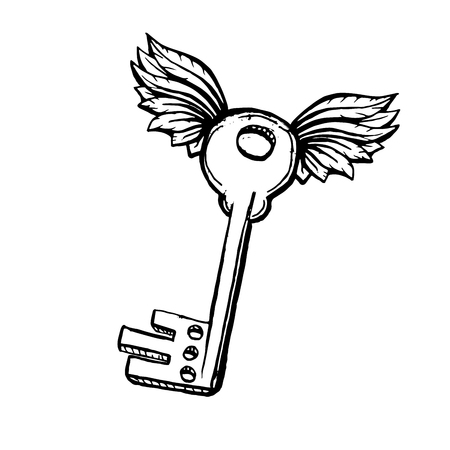Door Key with Two Wings in Sketch Style. Hand drawn Vector Isolated Illustration. Engraving object. Illustration