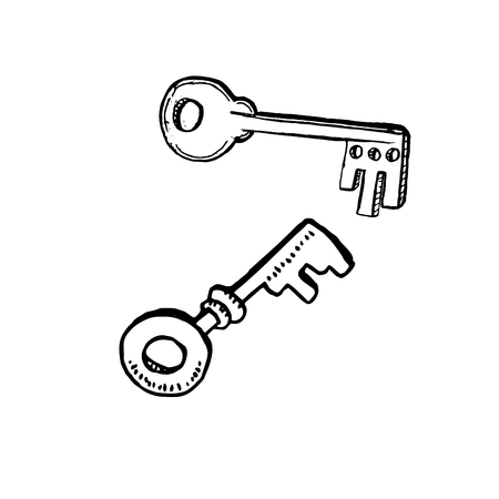 Door Keys in Sketch Style. Hand drawn Vector Isolated Illustration. Engraving object.