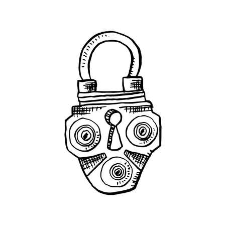 Door Lock or Latch in Sketch Style. Outline or Contour Drawing. Hand drawn Vector Isolated Vintage Illustration