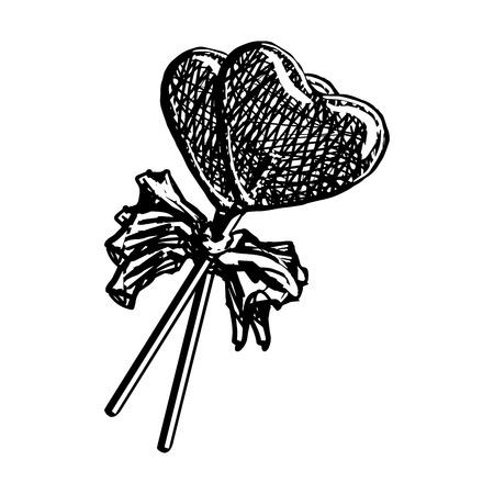 Lollipop Sketch In Heart Shape Isolated On White Background. Doodle Engraving Candy On Stick With Ribbon Bow Vintage Vector Illustration. Cotton Candy Sweets. Illustration