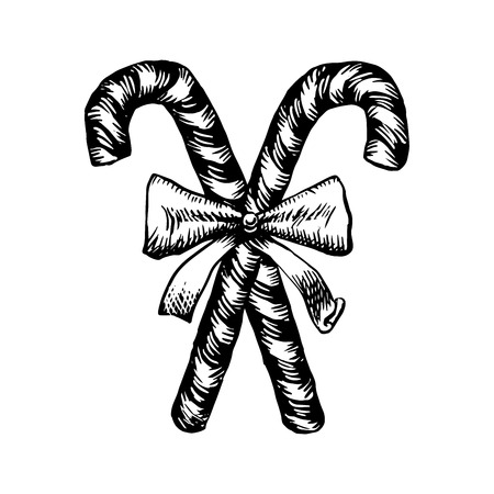 Christmas candy cane sketch. Vector illustration of two Christmas canes decorated with ribbon in vintage style. Black engraving pf traditional holiday. Sweet sticks isolated on white background. Illustration