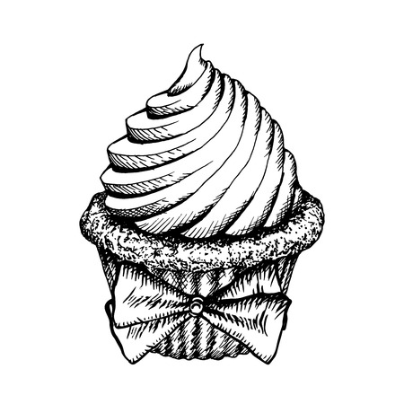Cupcake Sketch Icon Isolated On White Background. Vintage Cup Cake Decorated With Bow. Hand Drawn Dessert Vector Illustration. Cute Muffins With Cream Engraving Bakery. Çizim