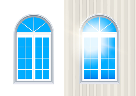 Two Closed Windows Exterior And Interior View With Blue Sky. Layered Vector Illustration Of Realistic Casement Window Set. White Frames And Transparent Clear Glass. Mock-Up Set. Illustration
