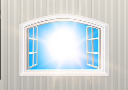 Open Window. Blue Sky and Sun Light View. Realistic 3D Style Wallpaper. Isolated White Double Casement Window. Wide Open Outdoors MockUp. Layered VectorTemplate.