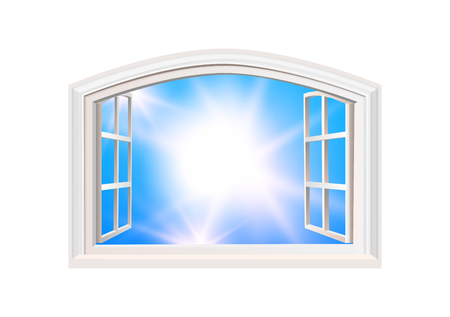 Open Window. Blue Sky and Sun Light View. Realistic 3D Style. Isolated White Double Casement Window. Wide Open Outdoors MockUp with Place for Text.Layered VectorTemplate.