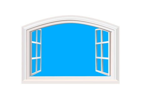 Open Window. Blue Sky in Opened Window. Realistic 3D Style. Isolated on White Double Casement Window. Wide Open Outdoors MockUp with Place for Text.Layered VectorTemplate. Banque d'images - 97383223