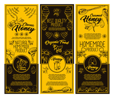 Set of isolated stickers or labels for clover honey bottle. Flyer with honey bee and special spoon, sunflower and hive, honeycomb and bumblebee. Healthy nutrition, summer food and farming theme Stock Photo