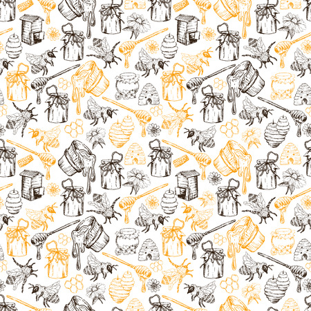 Honey Bee, Honeycomb And Jar Image Seamless Pattern Design In Sketch. Honey Comb, Pot, Bee Hive, Flowers Hand Drawn Vintage Elements On White Background Vector Illustration Stock Photo