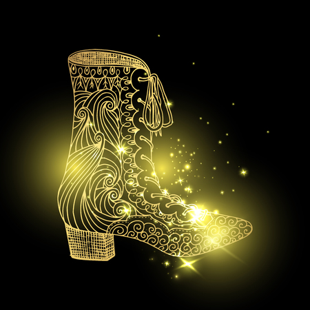 Starry lady sandals or woman T-strap, shining girl shoes. Golden female boots with blinking stars, women clothing accessory in cosmos. Glamor and shopping, vogue and trend, boutique theme
