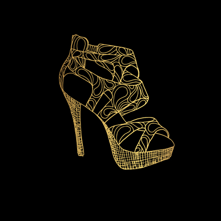 Lady high heels or girl shoes in black background. Illustration