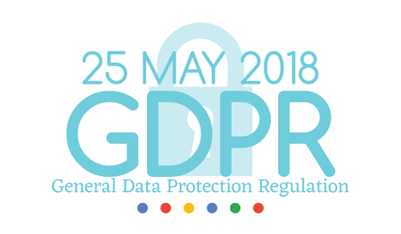 General Data Protection Regulation GDPR compliance or law is May 25th, 2018 year. Vector Horizontal Banner for website articles and posts for newspapers.