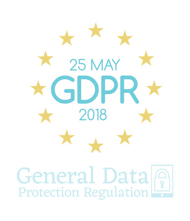 General Data Protection Regulation GDPR compliance or law is May 25th, 2018 year. Vector Vertical Banner for website articles and posts for newspapers.