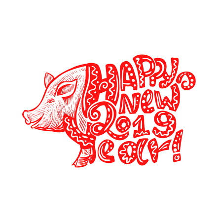 Cute Pig Snout in Red Color with Happy New Year 2019 Lettering. Isolated Swine Astrology Symbol with Patterned Letters. Use for Laser Cutting and Christmas Gift Design