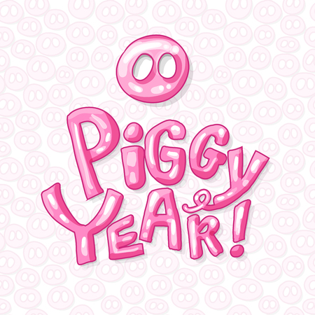 Cute Pig Snout in Pink Color with Piggy Year 2019 Lettering. Isolated Swine Astrology Symbol with Bright Letters. Use for Laser Cutting and Christmas Gift Design