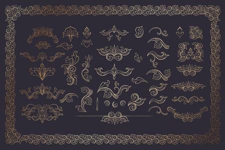 Cooper Farbe Blumenränder und Rahmen. Goldene Schnörkel setzen auf Dunkelheit. Goldene Teiler. Italienische Vintage-Verzierung. Isolierte Grußkarten-Kopfschmuck oder Hochzeit, Zertifikat und Diplom-Elemente