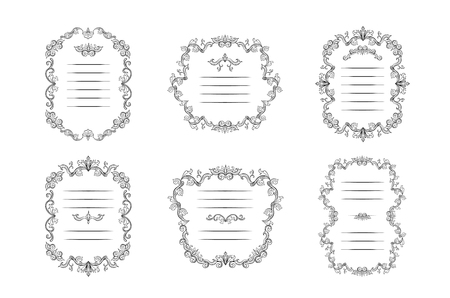 Set of floral borders and Frames with place for text. Copy space and dividers or flourishes. Italian vintage ornament. Isolated Greeting card or wedding, certificate and diploma. Headpiece template 일러스트