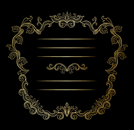 Golden floral border and Frames with place for text. Copy space and dividers or flourishes. Italian gold vintage ornament. Isolated wedding greeting card, certificate and diploma. Headpiece template