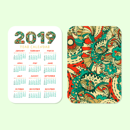 2019 Pocket Calendar Basic Grid. Vector Vertical Orientation. White Printable Template. Colorful Doodles Numbers. Week starts on Sunday. Xmas or New Year Theme, Christmas Poster Design