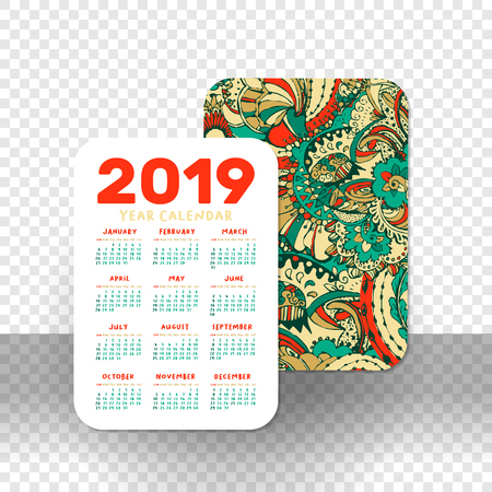 2019 Pocket Calendar Basic Grid. Vector Vertical Orientation. White Printable Template on Transparet Background. Doodles Numbers. Week starts on Sunday. Xmas or New Year Theme, Christmas Poster Design