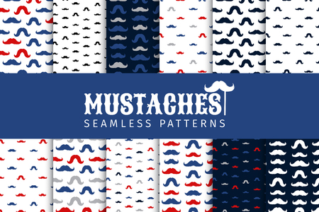 Moustaches Seamless Patterns Collection. November Holiday Wrapping. Mustache Silhouettes for Fabric Textile Design. Hand Drawn Retro Lettering. Cinco de Mayo, Vintage Mustache Carnival Design. Illustration