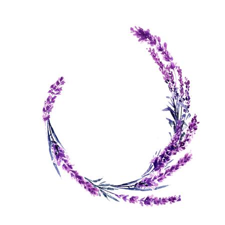 Lavender round flower branch watercolor illustration. Circle lavender frame. Wedding and decoration floral design. Valentines day, love and marriage symbol. Round lavender twig. Isolated raster Reklamní fotografie