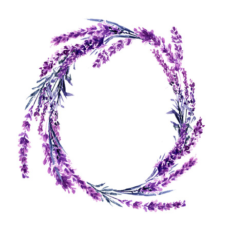 Lavender flower wreath watercolor illustration. Wildflowers circle frame. Wedding invitations and Valentines Day postcards floral design. Love and marriage symbol. Lavender wreath isolated raster