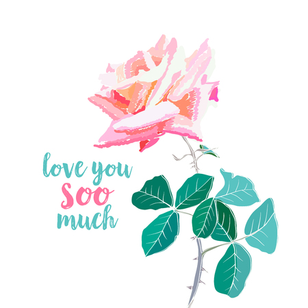 Pink rose watercolor illustration. Love you soo much calligraphy. Pink rose with thorns and leaves. Garden flower. Valentines Day. Greeting card, postcard, cover floral design. Isolated color vector  イラスト・ベクター素材