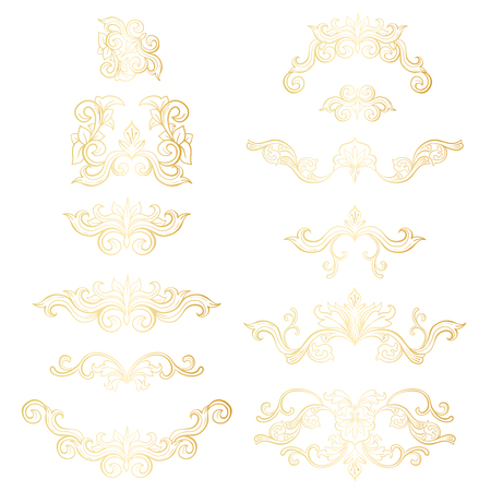 Gold Isolated plants with leaves decorations. Italian flourish baroque ornate for wedding or christmas, certificate. Yellow floral crown or golden wreath. Luxury and victorian, royal and headpiece