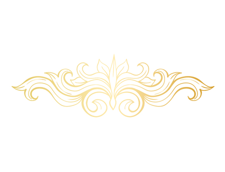 Gold Isolated plant with leaves decorations. Italian flourish baroque ornate for wedding or christmas, certificate. Yellow floral crown or golden wreath. Luxury and victorian, royal and headpiece Imagens - 110196249