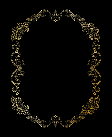 Golden Floral border or Frame for picture. Gold Italian vintage ornament for photo. Isolated Retro divider with swirl for greeting card or wedding. Royal, luxury flourish, headpiece template