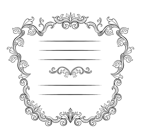 Floral borders and Frames with place for text. Copy space and dividers or flourishes. Italian vintage ornament. Isolated Greeting card or wedding, certificate and diploma. Headpiece template