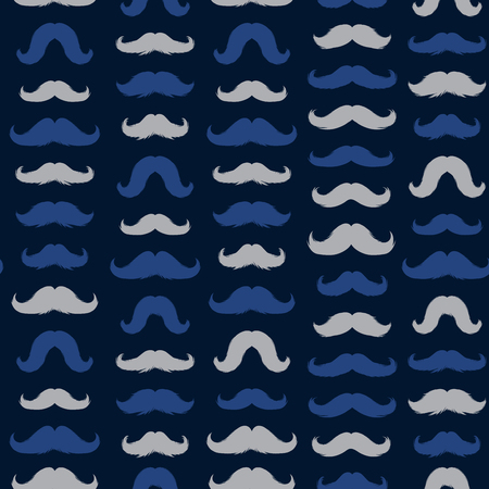 Moustaches Seamless Patterns for November Holiday Wrapping Paper. Blue and Grey Vector Mustache Silhouettes for Fabric Textile Design. Cinco de Mayo, Vintage Mustaches Carnival Design. Dark Background Ilustração Vetorial