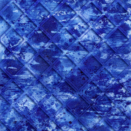 Blue grunge grid background. Navy colored texture. Water and sky concept. Dark and bright blue paint brushstrokes. Watercolor poster, textile and cover abstract design. Navy backdrop. Color raster