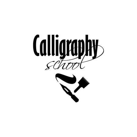 Calligraphy school lettering logo design template. Calligraphic classes, studio sign with black handwritten fonts. Dip pen silhouette with ink wave and brush. Vector isolated logotype