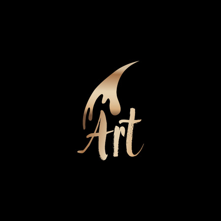 Art classes golden lettering logo design with brush. Calligraphy school and masters with bronze handdrawn fonts. Gold metal sign on black background. Creativity logotype. Isolated vector
