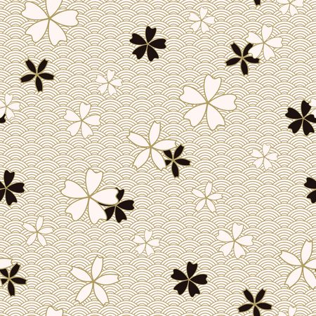 Japanese classic Sakura Vector Seamless Pattern floral in black and light beige colors. Traditional kimono, Asian festive motif with spring flowers in blossom, golden stroke effect