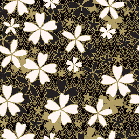Japanese classic Sakura Vector Seamless Pattern floral in black and light beige colors. Traditional kimono, Asian festive motif with spring flowers in blossom, golden stroke effect and dark wavy background