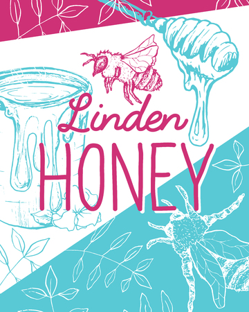 Isolated Poster with bee and fresh honey. Sketch with hexagon honeycomb and spoon for gathering. Label or brochure for healthy nutrition market or shop, store with beeswax. Insects food retail theme