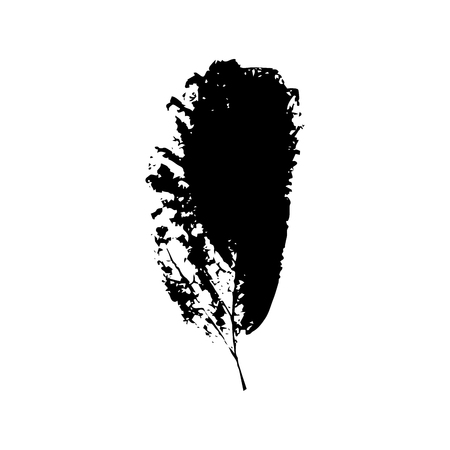 Black silhouette with leaf of tree. Single isolated clipart. Prints of leaves on branch. Flora and nature theme for paper cutting scrapbook design