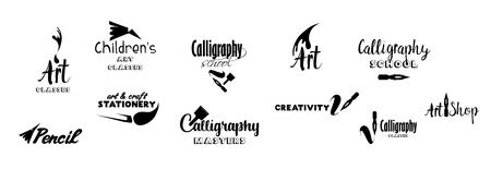Art classes lettering design set. Calligraphy school, masters, craft shop with hand, calligraphic fonts. Black metal laser cut collection. Art and creativity logotype. Isolated vector