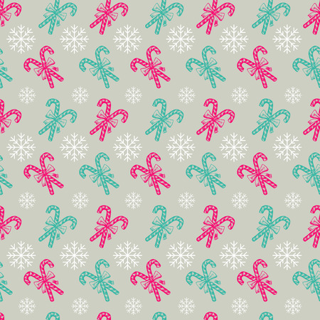 Hand Drawn Xmas Sweets Seamless Pattern for Holiday Scrapbooking or Gift Wrapping Papers. Xmas Texture with Pepprmint Candy Cane Stick with Bow, Snowflakes for 2019 New year Illustration