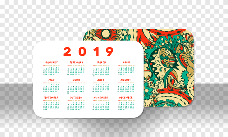 2019 Pocket Calendar Basic Grid. Vector Horizontal Orientation. White Printable Template on Transparet Background. Doodles Numbers. Week starts on Sunday. New Year Theme, Christmas Poster Design 일러스트