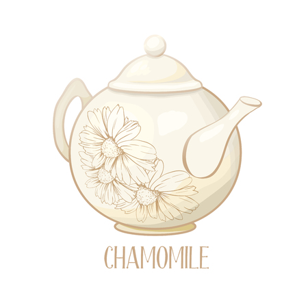 Porcelain or Ceramic Teapot Service. Mint Tea Leaves and Chamomile Flowers. Green Tea Cup. Isolated and Detailed Herbal Therapy Vector Illustration. Banner Design, Restaurant Menu, English Breakfast.