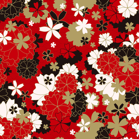 Japanese classic Sakura Vector Seamless Patternfloral in red, white, black and light beige colors with golden stroke. Traditional kimono, Asian festive motif. Spring flowers in blossom, gold effect Stock Photo